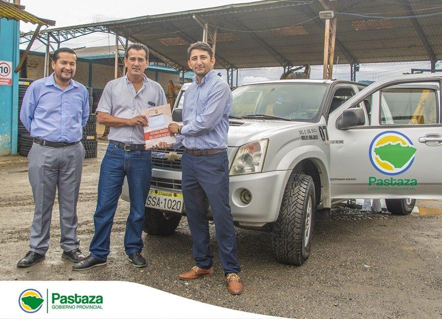 Prefectura de Pastaza, entregó un vehículo al CONAGOPARE Pastaza en calidad de COMODATO con un plazo de cuatro años