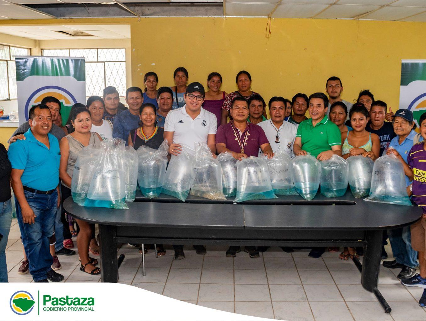 entrega de 35. 200 alevines de tilapia a diferentes comunidades del cantón Arajuno.