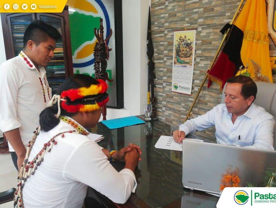 Visita del Presidente de la Nacionalidad Shiwiar.