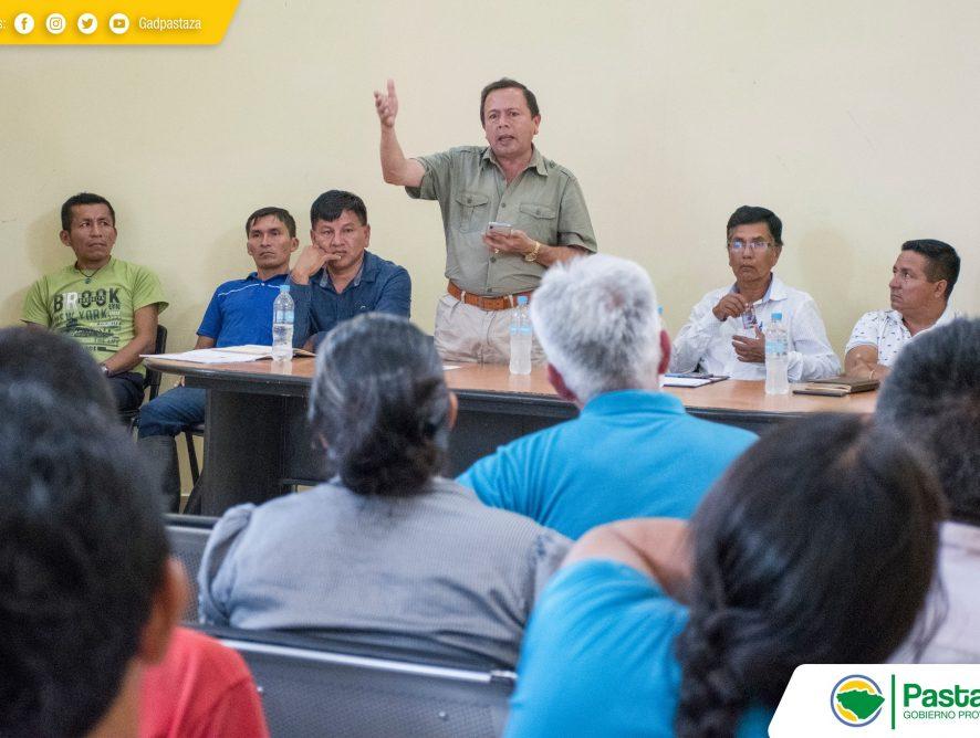 El Ing. Jaime Guevara, Prefecto de la provincia de Pastaza, mantuvo una reunión en las instalaciones del Gobierno Parroquial de Canelos.