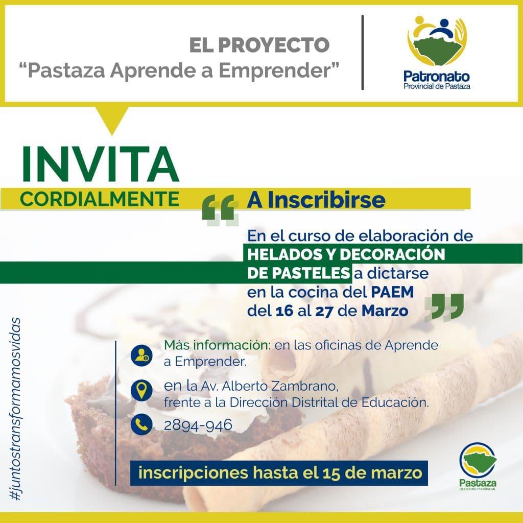 Curso de Elaboración de Helados y Decoración de Pasteles - Patronato Provincial de Pastaza