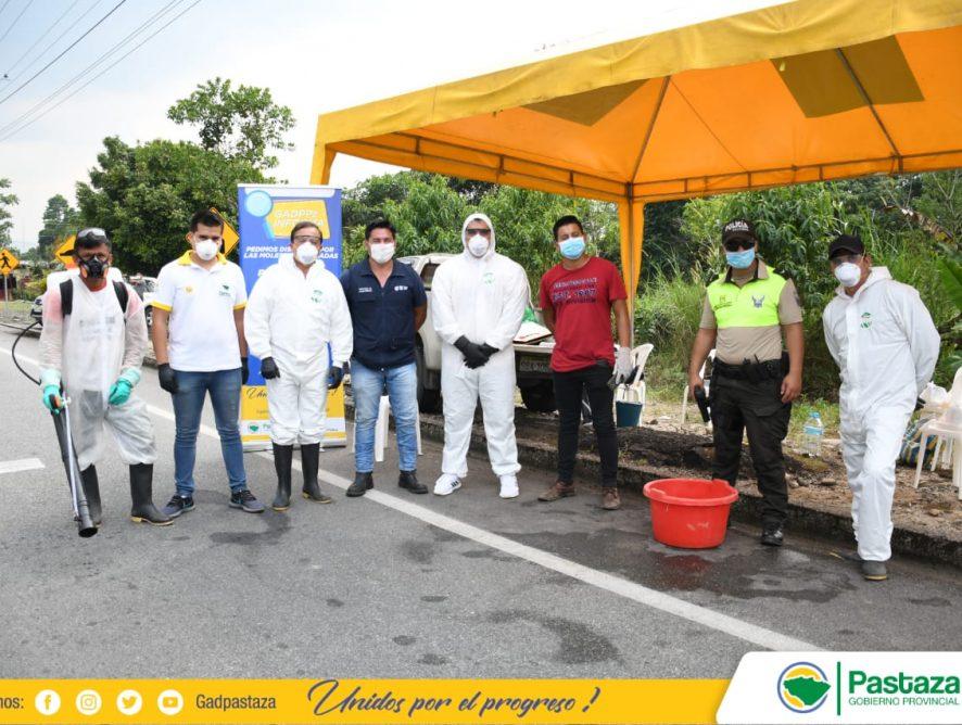 Prefecto de Pastaza, realizó la verificación de la desinfección vehicular en el cantón Santa Clara.