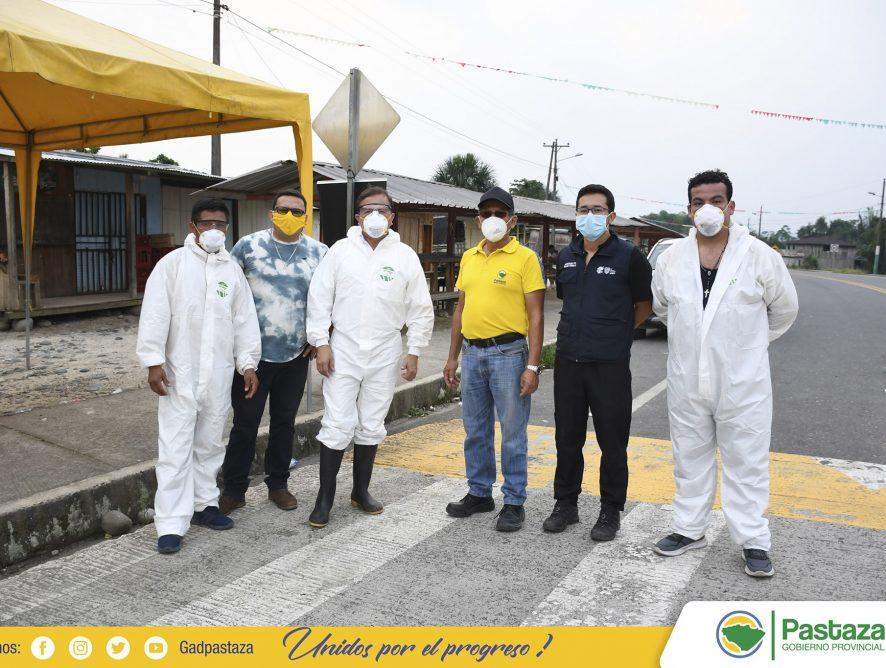 Prefecto de Pastaza, realizó la verificación de la desinfección vehicular en la Parroquia Simón Bolívar.
