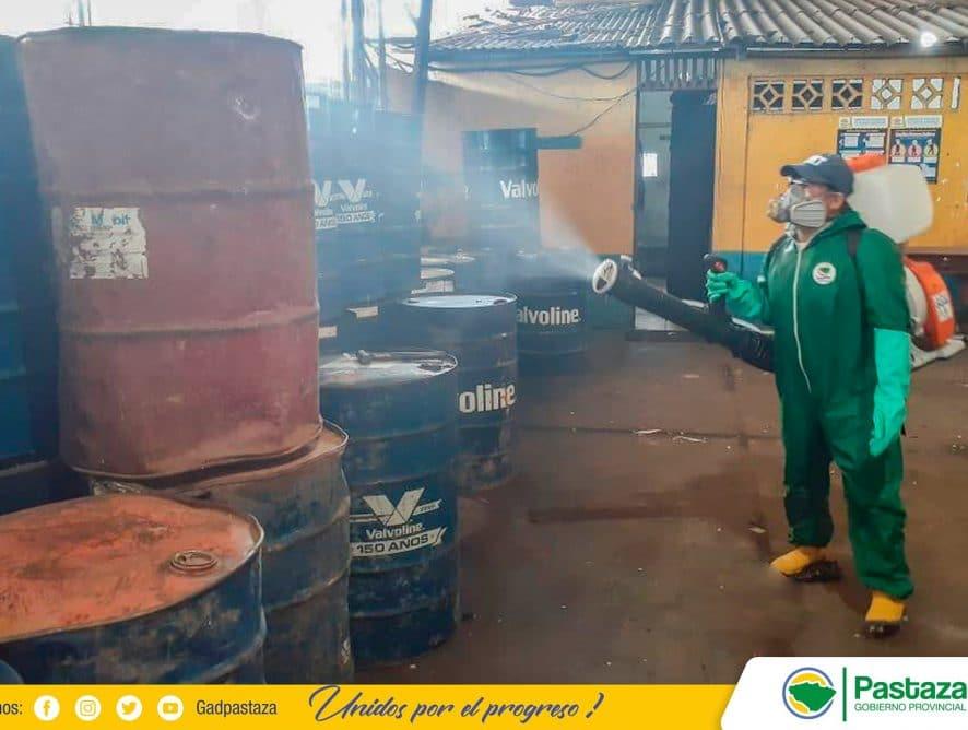 Trabajo de desinfección se realizó en los hangares del GADPPz!