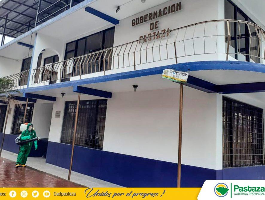 Personal de la Prefectura de Pastaza realizó desinfección en la Gobernación De Pastaza.