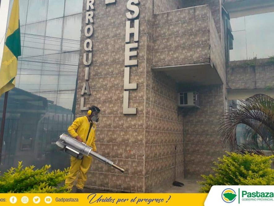 Personal de la Prefectura de Pastaza realizó desinfección del edificio del Gad Parroquial De Shell.