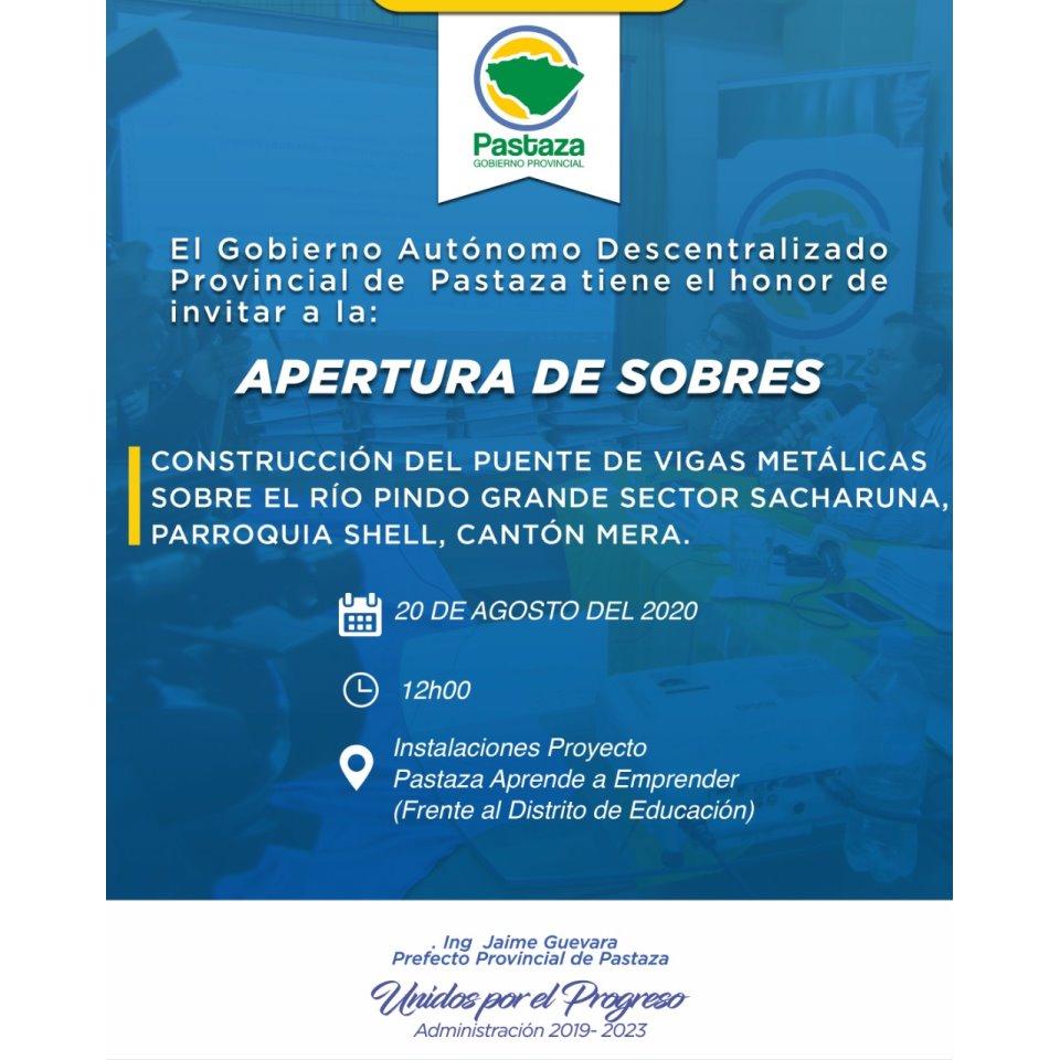 Apertura de Sobres - GAD Provincial de Pastaza