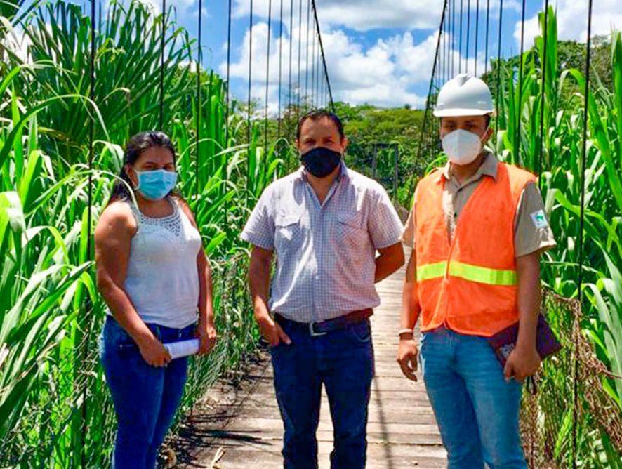¡Se realizó inspección técnica a trabajos en el puente colgante de la comunidad Bellavista!